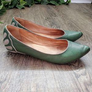 Miz Mooz Jodi Flats Shoes Green Silver Art Deco